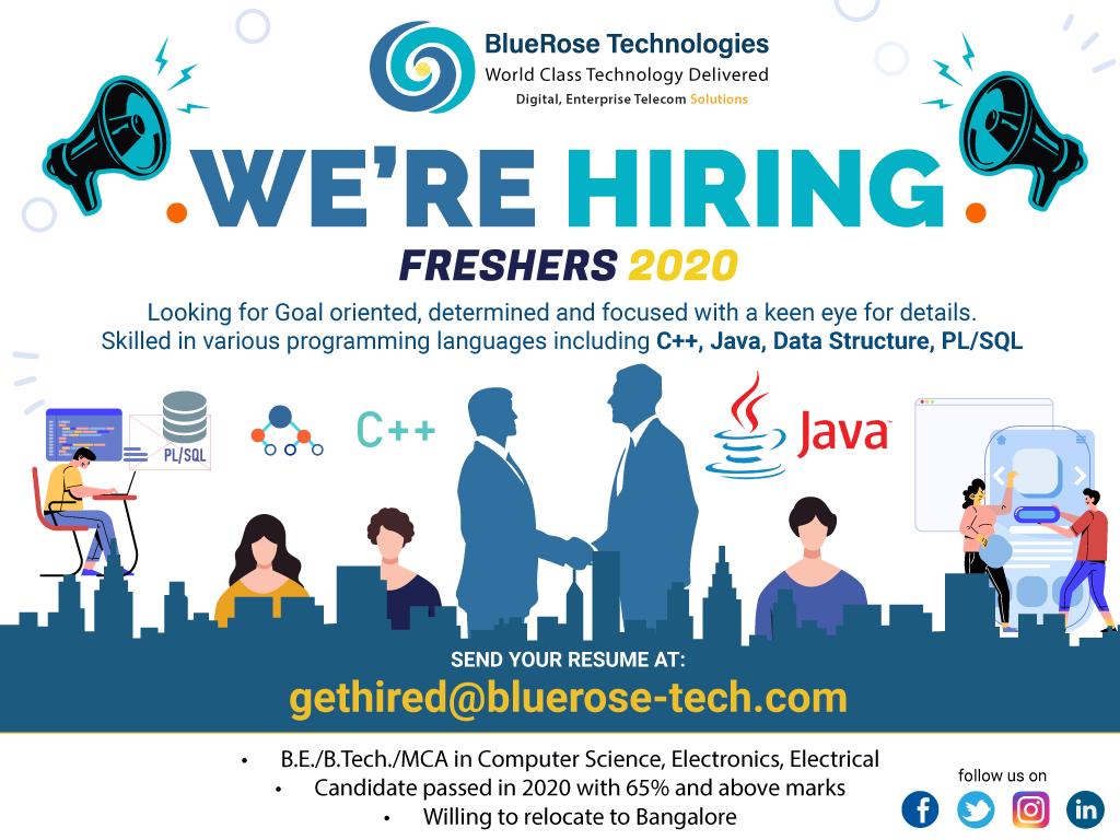 Bluerose Technologies hiring freshers 2020